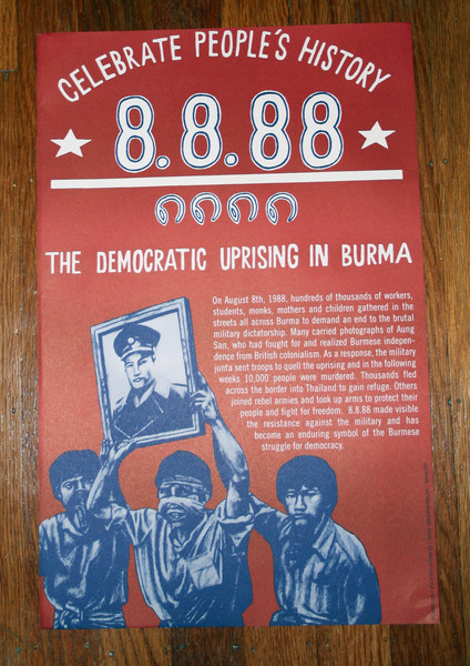 8888 Democratic Uprising in Burma Celebrate People's History justseeds poster