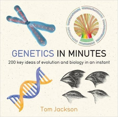 white book cover showing four pictures of animals, genes, etc.