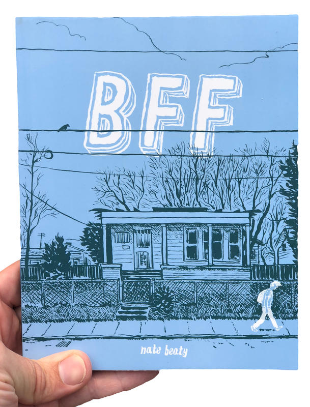 A blue book cover with an illustration of a small, old house and a person walking down the sidewalk