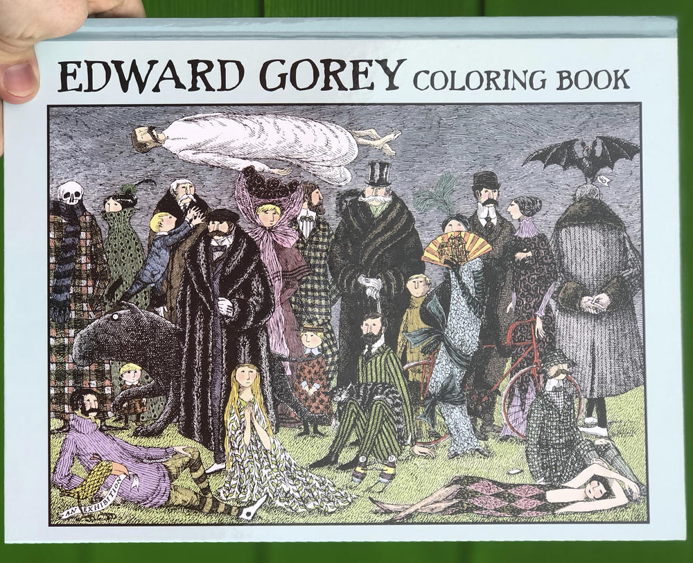 An Edward Gorey Illustration of rich people standing in a dim yard.