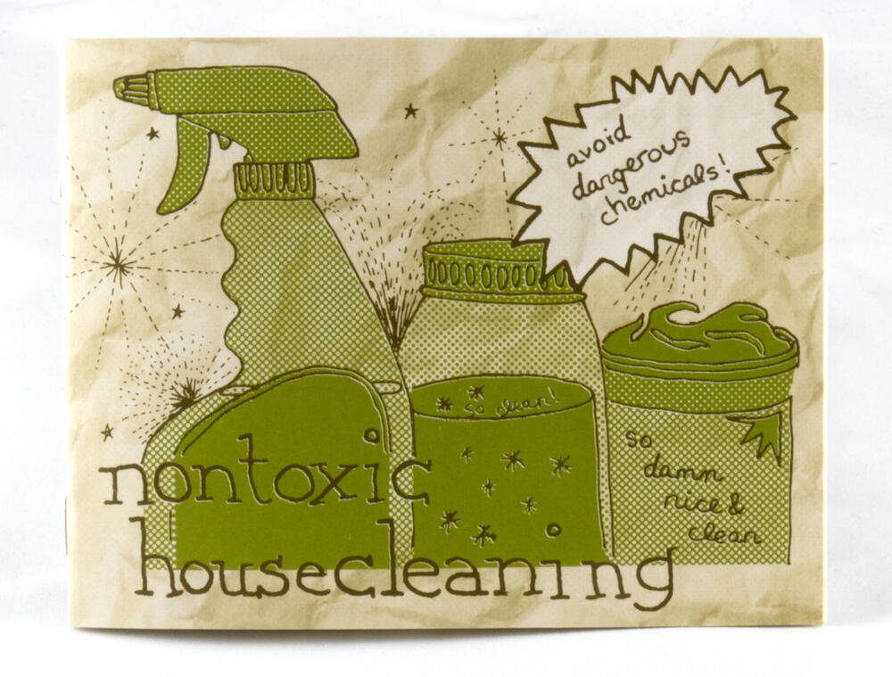 a zine cover with illustrations of home-made cleaning supplies