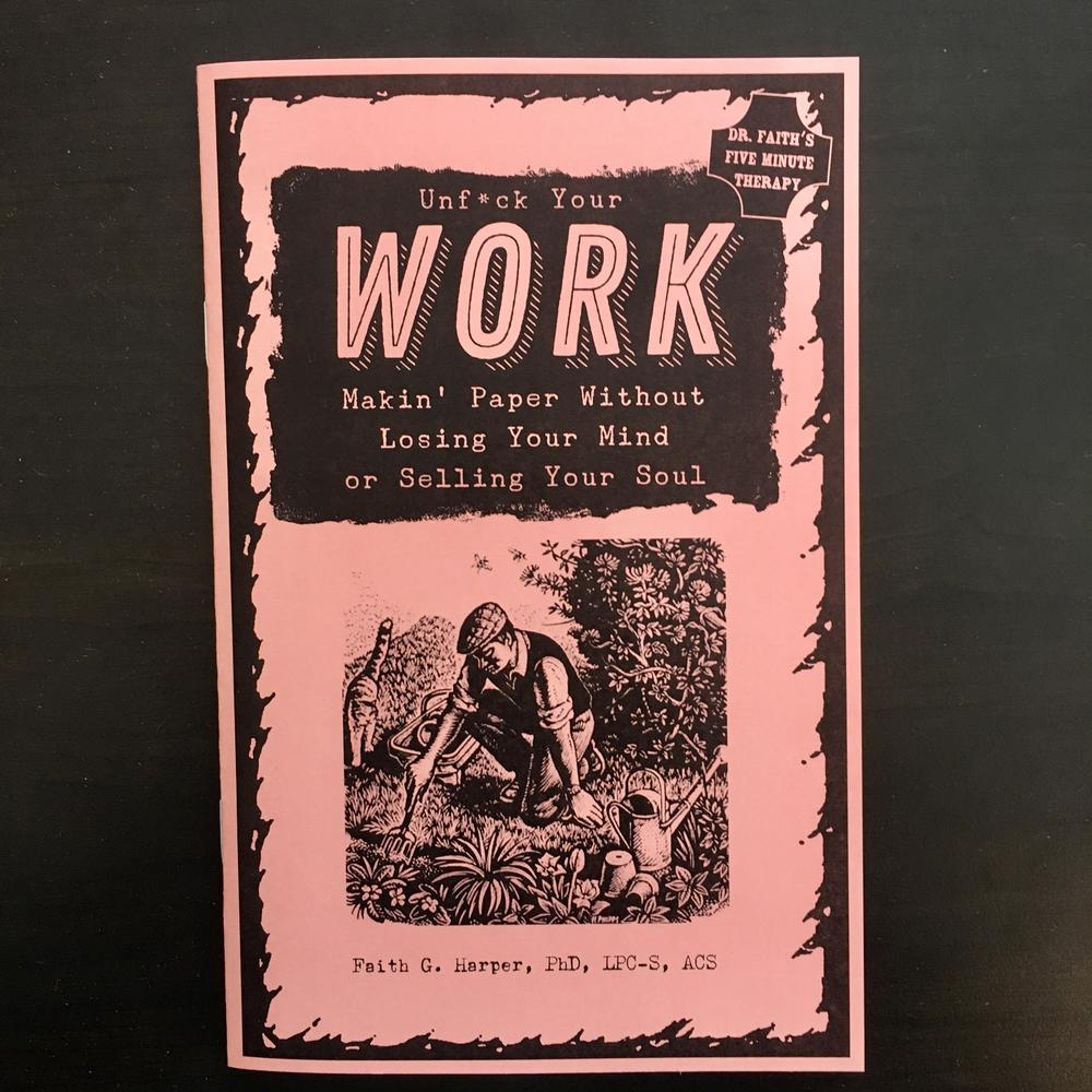 a pink cover and an illustration of a man gardening