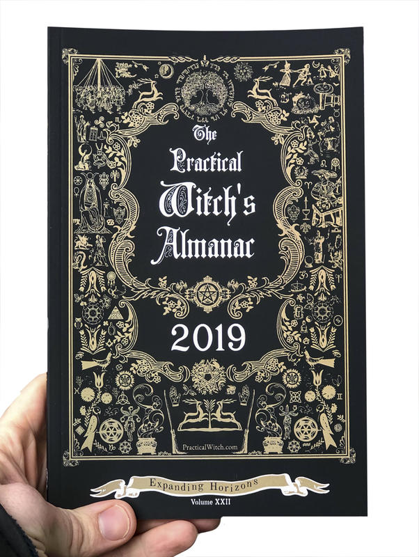 Cover of The Practical Witch's Almanac 2018, which features a variety of symbols, plants etc. framing the title in the style of The Farmer's Almanac
