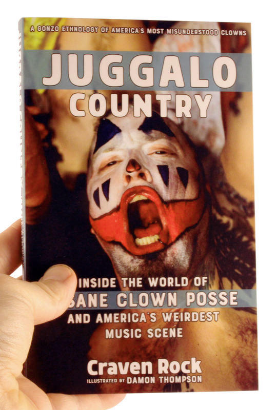 Book cover depicting a crowd of people in clown-like makeup and clothes