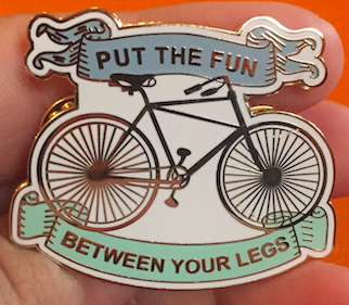 Put the Fun Between Your Legs enamel pin blowup