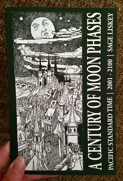 Cover of A Century of Moon Phases which has a black and white drawing of the moon overlooking a cityscape