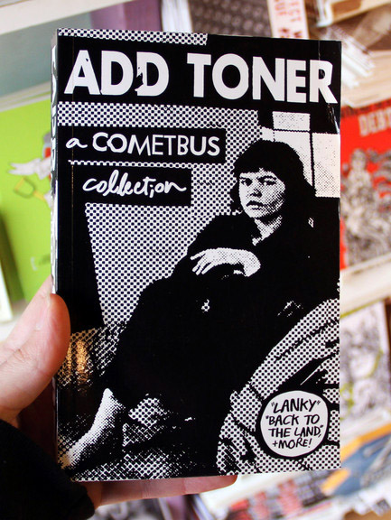 Add Toner: A Cometbus Collection book cover [A stark black & white photo of a young woman]