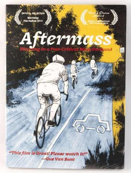 A DVD cover with an illustration of a few cyclists biking down the road