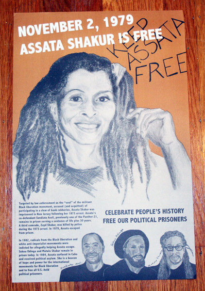 Assata Shakur is free poster by the  justseeds artists collective celebrate people's history