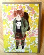 Furcoats and Backpacks greeting card (Beau—skull shirt)