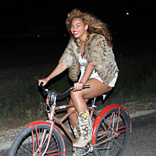 Beyonce riding a bicycle