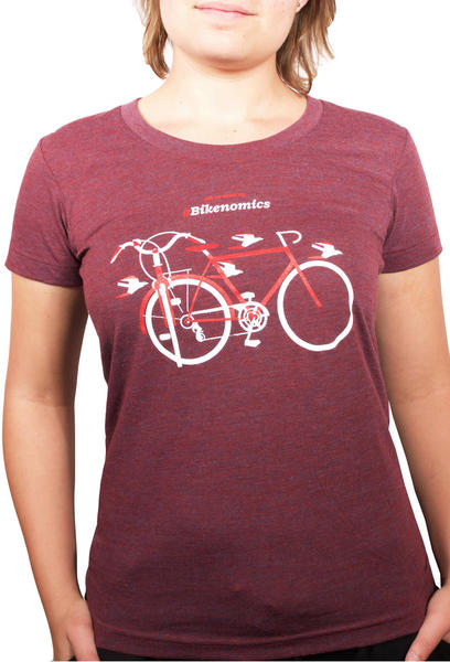 "a shirt with perpendicular bicycles and the title, ""Bikenomics"""