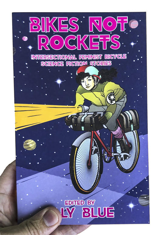 A book cover featuring a woman riding a bike in space