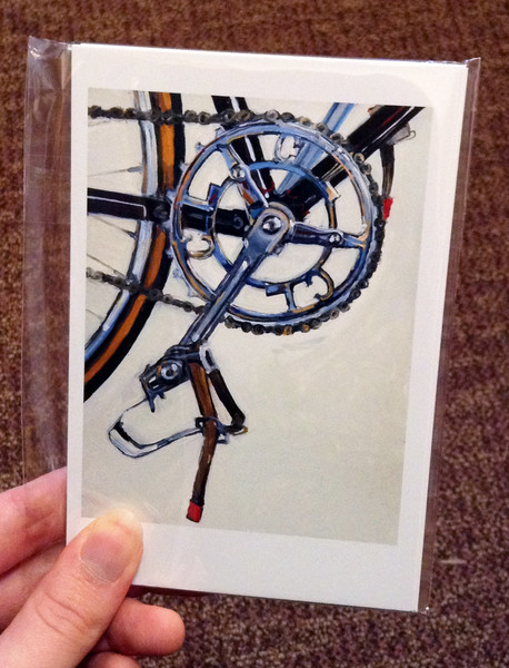 bicycle painting postcard set blowup