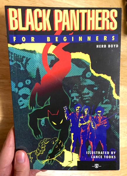 Black book cover depicting a black and red panther, three musicians, and some political activists