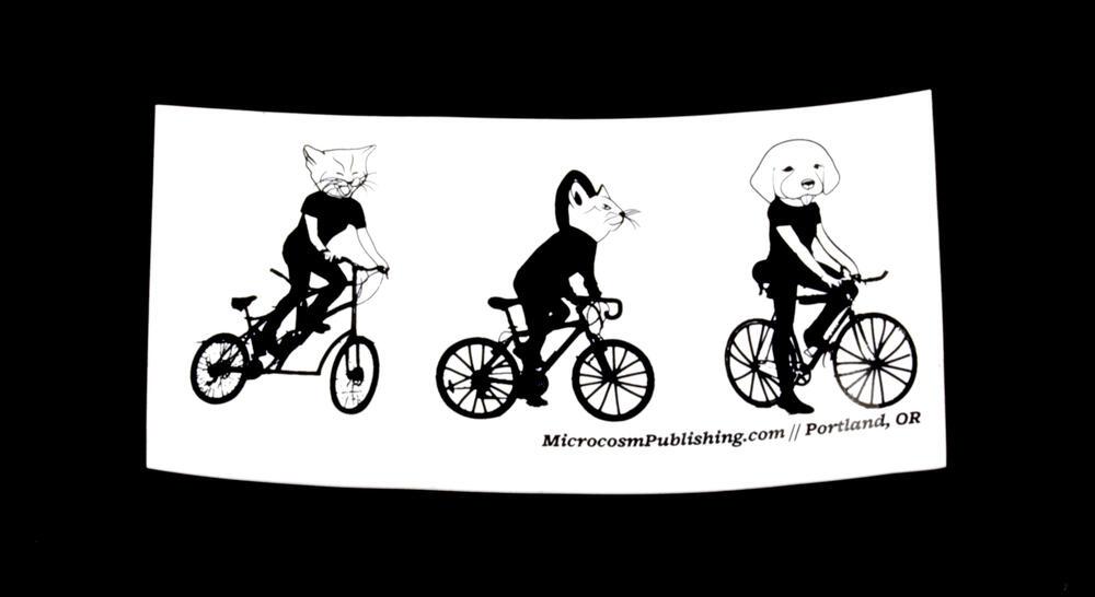 Sticker #371: Cats & Dog on Bikes