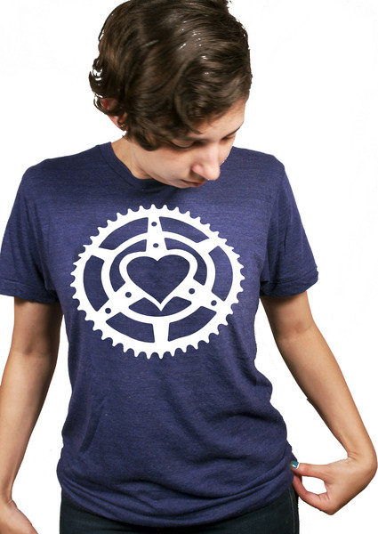 photo of cyclist wearing a chainring heart microcosm logo t-shirt