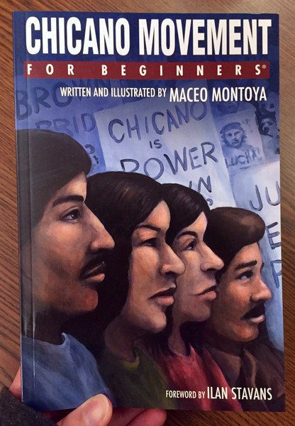 book cover depicting 4 chicano men and women standing in a line in front of picket signs