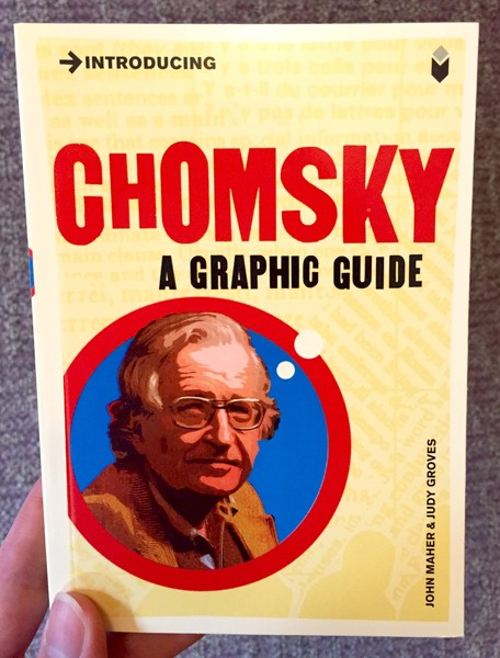 yellow book cover with noam chomsky in a red circle with thought bubbles