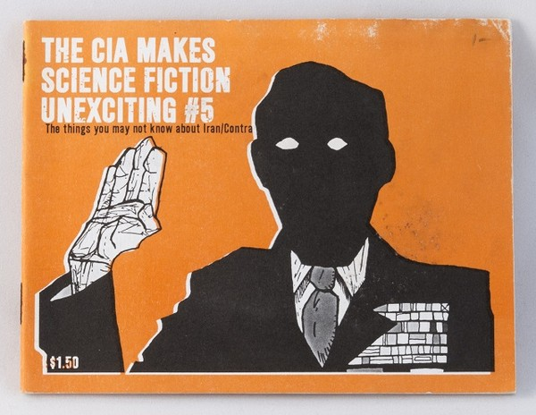 An orange zine with the silhouette of a man, right hand raised, giving an oath