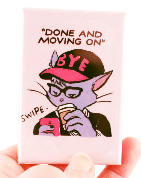 "a cat with a ""bye"" hat and a coffee, swiping left"