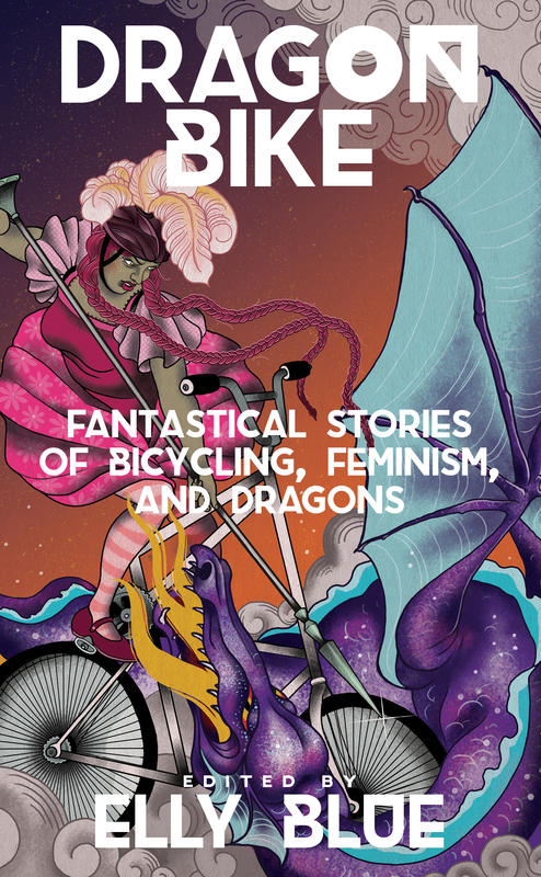 a heroine on a tall bike points her spear at a firebreathing dragon