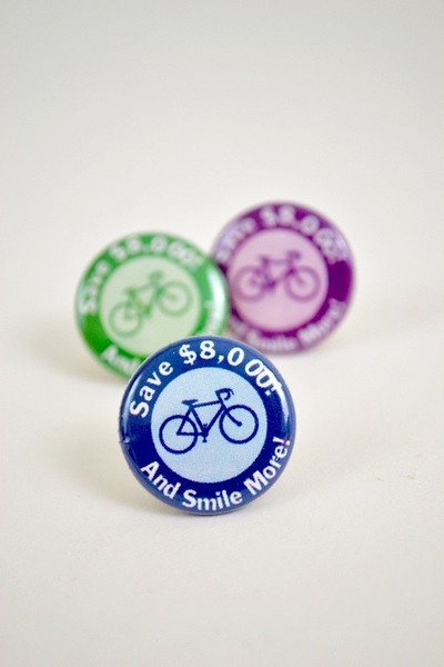 Button Save and Smile More with a Bike