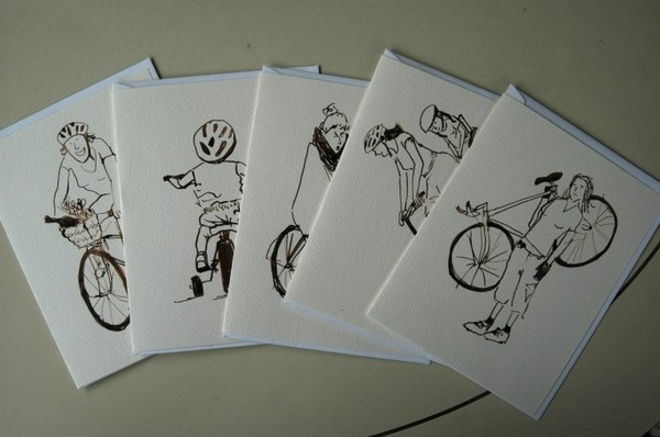 women on bicycles through the ages card setFive cards, each bearing one of Kate Berube's drawings of women of all ages riding bicycles (originally done for the second Taking the Lane zine), from infancy to motherhood to a classy old age. Kate's illustrations are friendly, evocative, and fun.