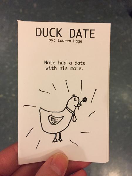 Cover of duck date by Lauren Hage [This duck on the cover has a flower in its bill and a tie on - clearly ready for the date]