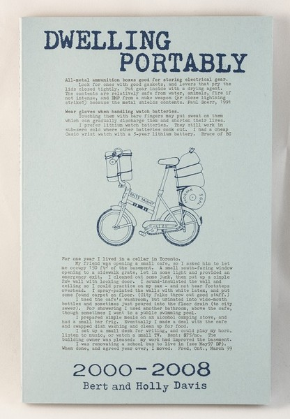 A blue book with blue text covering the cover as well as a blue drawing of a decked-out bike