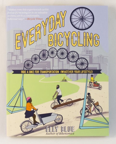 A book cover with an illustration of several different people on different kinds of bikes, riding around town