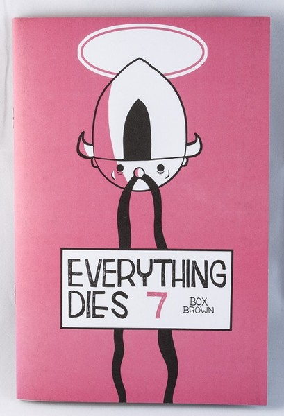 A pink/red zine cover with the head of a cartoon in a horned helmet and a long, hanging mustache and a halo above its head