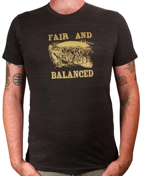 "This t-shirt reads ""Fair and Balanced"" with an image of victorian bike riders"