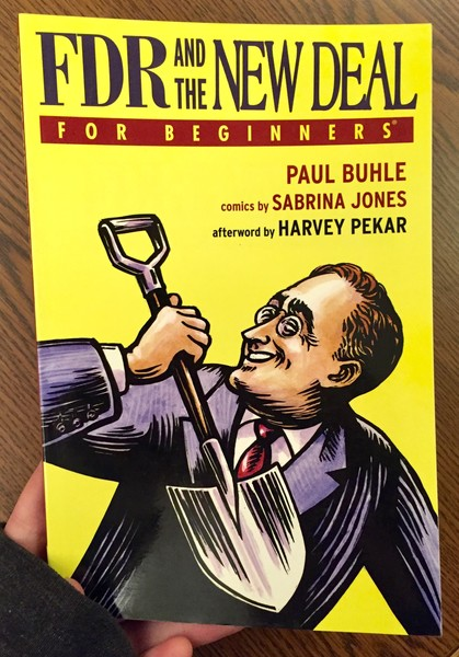 Yellow book cover with FDR holding a shovel