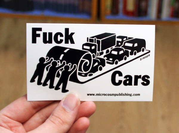 Sticker 120 Fuck Cars blowup