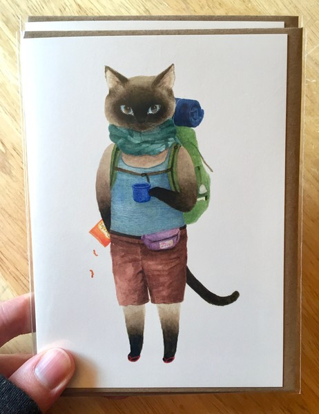 Furcoats and Backpacks greeting card (Jack—cheetos)