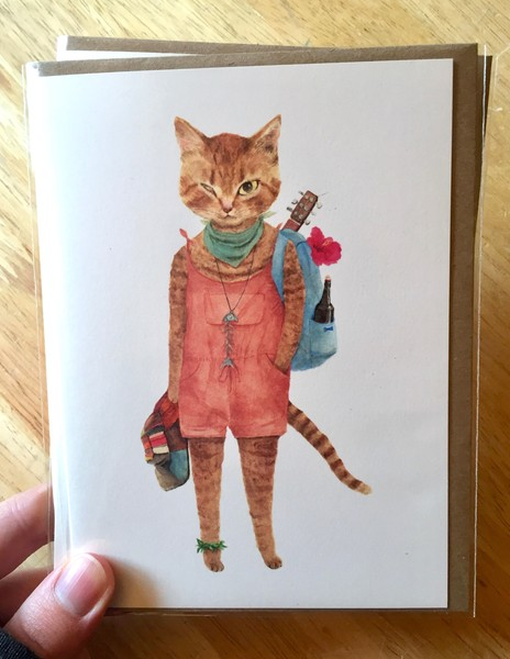 Furcoats and Backpacks greeting card (Maka)
