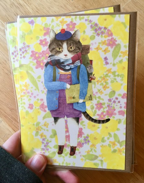 Furcoats and Backpacks greeting card (Spencer—sketchbook)