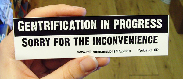 Gentrification in Progress Sorry for the Inconvenience vinyl sticker
