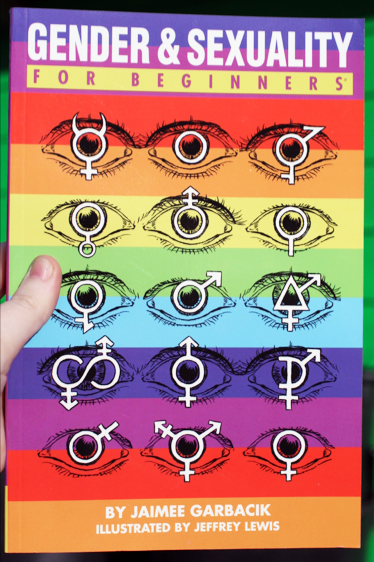 Rainbow striped book cover depicting eyes showing various signs in their pupils