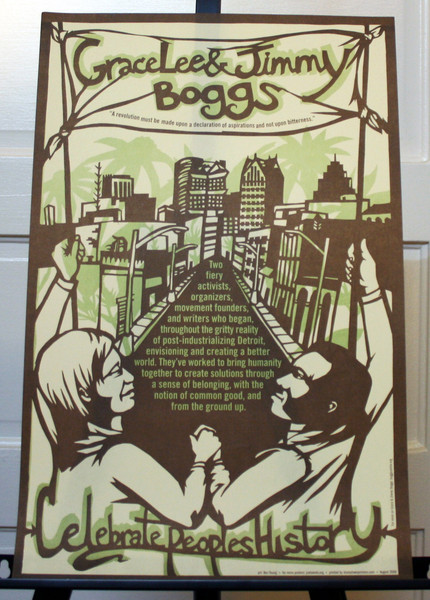 Grace Lee and Jimmy Boggs poster by bec young of justseeds