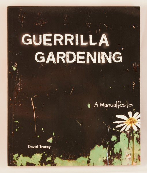 Guerrilla Gardening: A Manualfesto - black background - daisies at the bottom right
