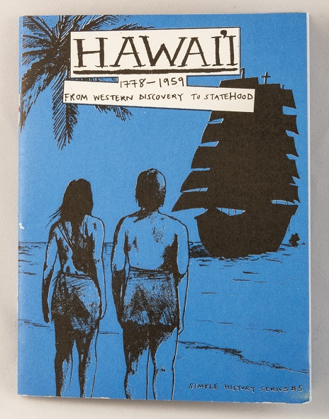 A blue zine with an illustration of two people standing on a beach looking out to the silhouette of a large ship sailing toward them