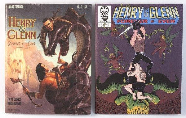Two zines: one cover is more realistic and the other is cartoony. In the first, Henry and Glenn are taking on a giant snake, in the second the are battling a demonic monster
