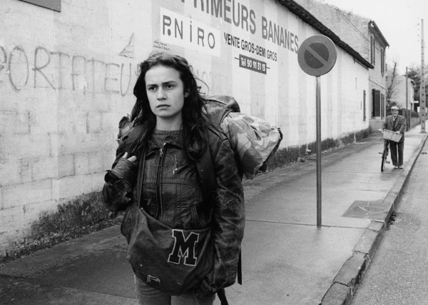 black and white photo of a hitchhiker