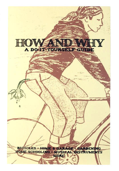 A cream book cover with a drawing of a person riding a bike with a sunflower flopping out of their back pocket