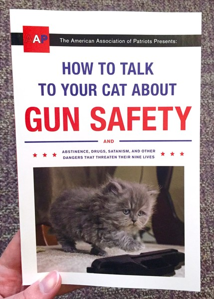 How to Talk to Your Cat About Gun Safety: And Abstinence, Drugs, Satanism, and Other Dangers That Threaten Their Nine Lives by Zachary Auburn [Her mind made up at last, an improbably fluffy kitten reaches for the gun in front of her]
