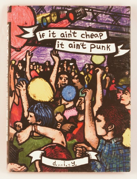 if it ain't cheap it ain't punk dvd cover with colorful drawings of a crowd of people at a concert