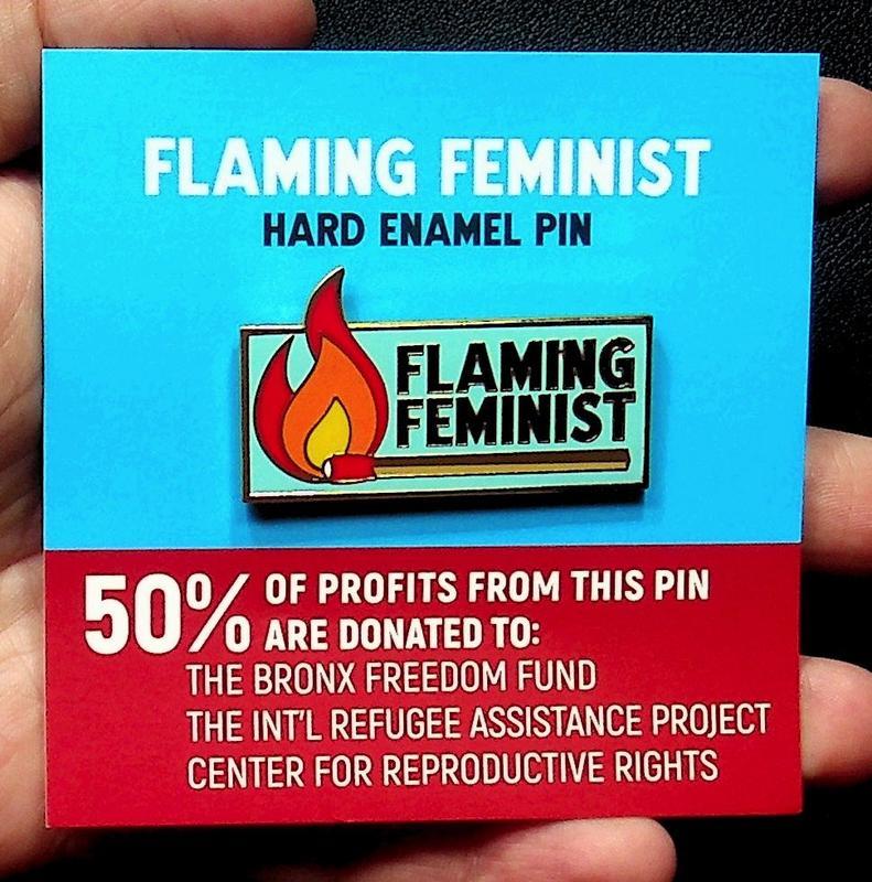 Flaming Feminist Enamel Pin