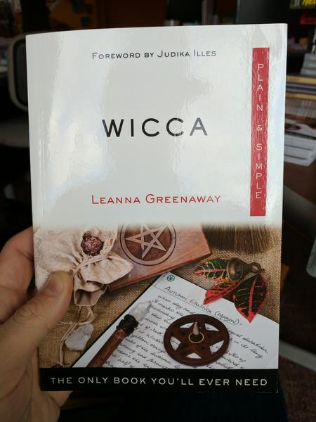 Wicca: Plain and Simple by Leanna Greenaway (An incense burner, some notes, and crystals)